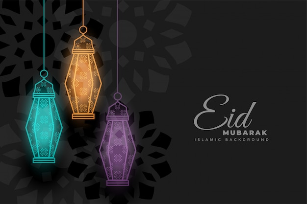 Eid mubarak glowing decorative lamps background