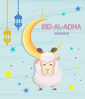 Eid mubarak. goat hanging on the moon
