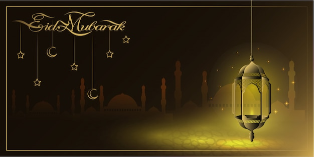 Eid mubarak greeting background with gold lantern