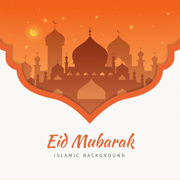 Eid mubarak greeting card background with the mosque