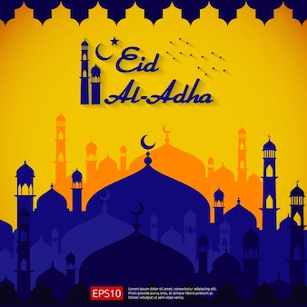 Eid mubarak greeting card design with dome mosque element
