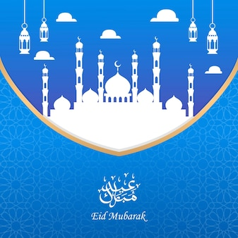Eid mubarak greeting card design with silhouette mosque and lantern