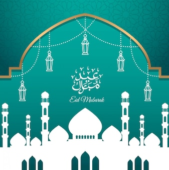 Eid mubarak greeting card design with silhouette mosque