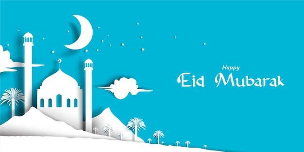 Eid mubarak greeting card illustration with beautiful mosque in paper style
