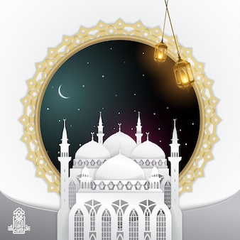 Eid mubarak greeting card template 3d mosque lantern islamic Premium Vector