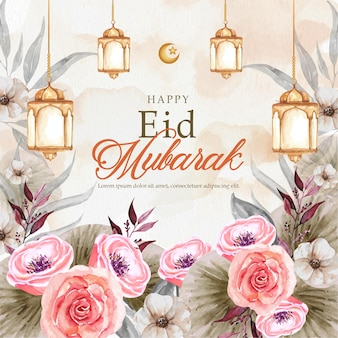 Eid mubarak greeting card watercolor with lantern and flowers