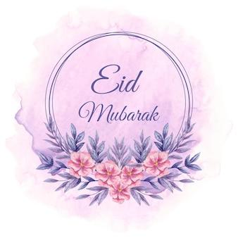 아름다운 보라색 수채화 꽃과 eid 무바라크 인사말 카드