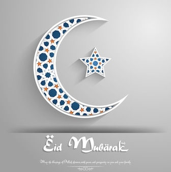 Eid mubarak greeting card with crescent moon and star