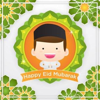 かわいいイスラム教徒のイラストとeidムバラクの挨拶カード