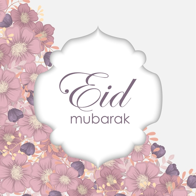 Eid mubarak greeting card with floral design