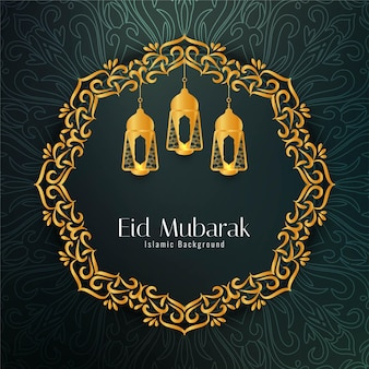 Eid mubarak greeting card with frame and lamps