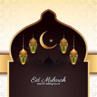Eid mubarak greeting card with lamps and crescent moon