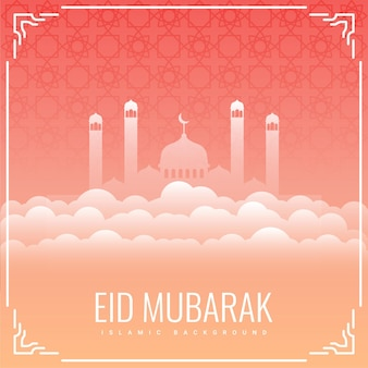 Eid mubarak greeting card with mosque and clouds