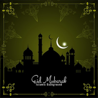 Eid mubarak greeting card with mosque and crescent moon