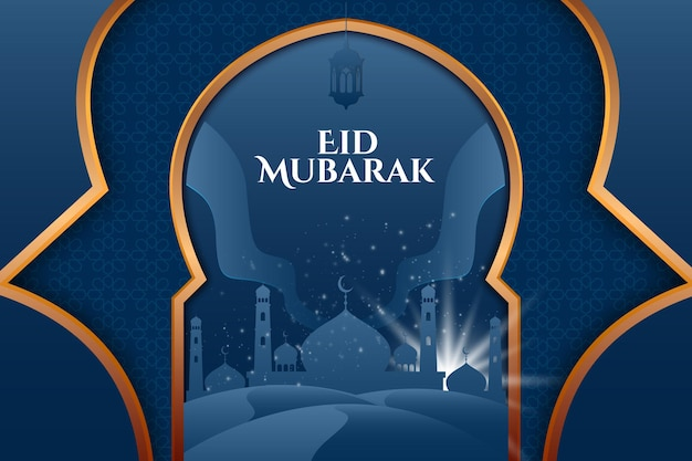 Eid mubarak greeting card with mosque at night