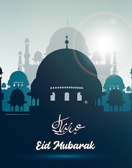 Eid mubarak greeting card with mosque