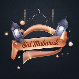 Eid mubarak greeting card with ribbon in bronze color, 3d lanterns and line art mosque on black i