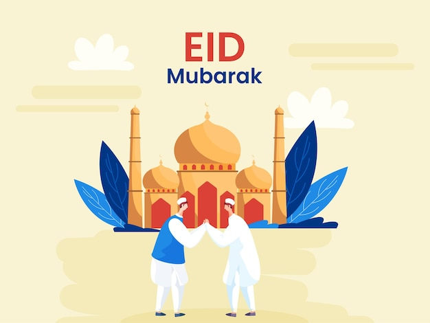 Eid mubarak greeting card with two muslim men greeting to each other in front of mosque