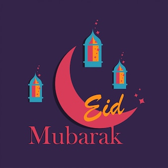 Eid mubarak greeting card.