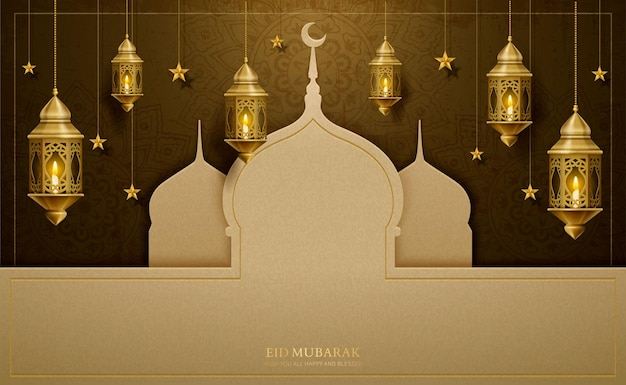 Eid mubarak greeting design with paper art mosque and hanging lanterns