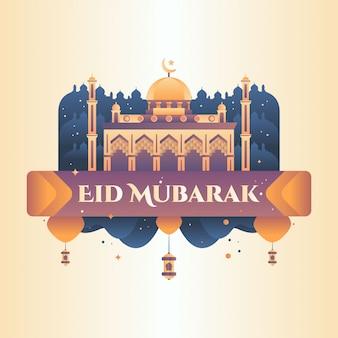 Eid mubarak greeting illustration