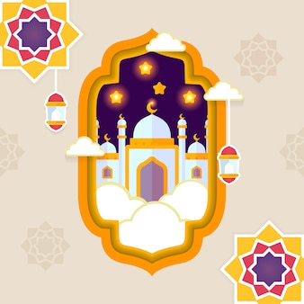 Eid mubarak greeting islamic flat design