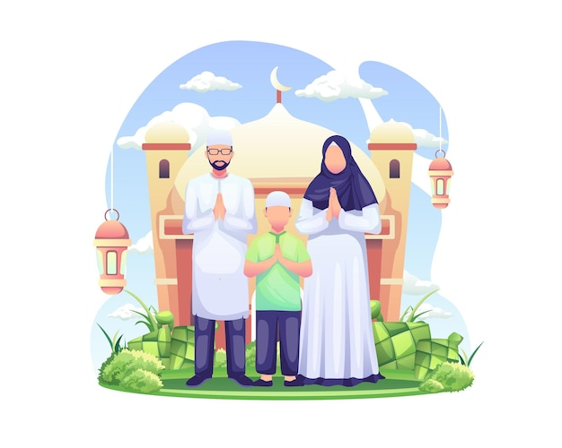Eid mubarak greeting and ramadan greeting with a muslim family  illustration