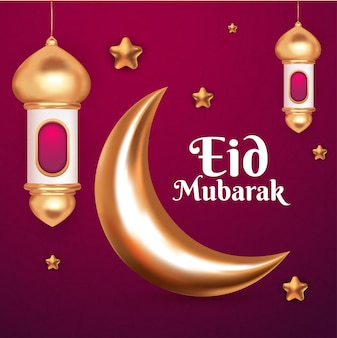 Eid mubarak greeting with 3d stars latern and  crescent moon for islamic background decoration element