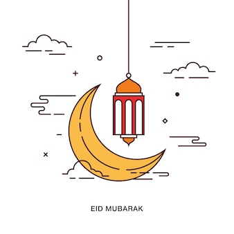 Eid mubarak greeting with crescent moon and hanging lamp