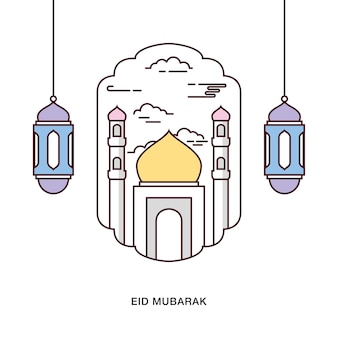 Eid mubarak greeting with mosque inside arch and hanging lamps on the sides