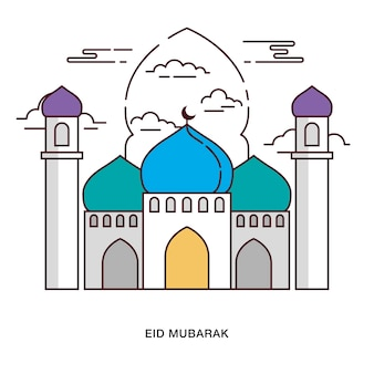 Eid mubarak greeting with mosque with arch behind it