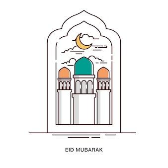 Eid mubarak greeting with tower of mosque inside arch