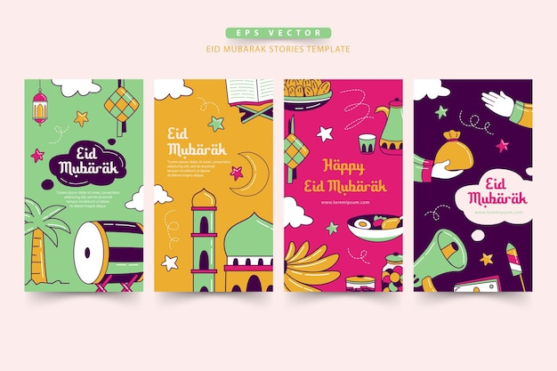 Eid mubarak handdrawn stories template