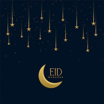 Eid mubarak holiday greeting with falling stars
