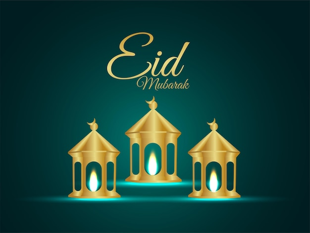 Eid mubarak invitation greeting card with vector illustration of golden lantern on creative background