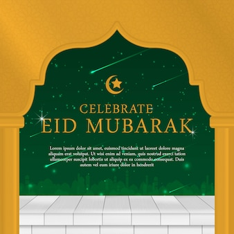 Eid mubarak islamic background design with simple modern
