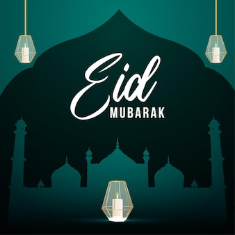 Eid mubarak islamic background with arabic beautiful lantern on green background