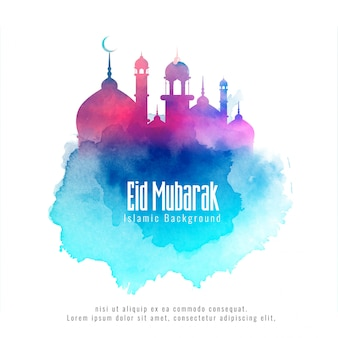 Eid mubarak islamic background with colorful mosque