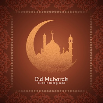 Eid mubarak islamic design background vector