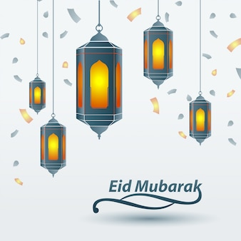Eid mubarak islamic design traditional lantern