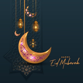 Eid mubarak islamic design with golden lantern and crescent moon