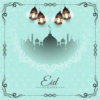 Eid mubarak islamic festival background with mosque vector