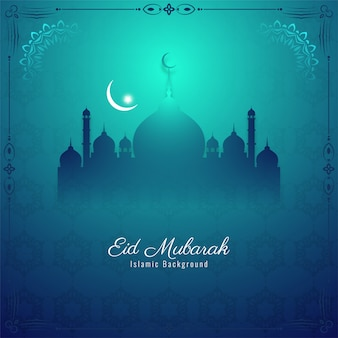 Eid mubarak islamic festival greeting background