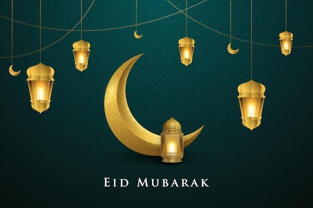 Eid mubarak islamic greeting design crescent moon and hanging lantern