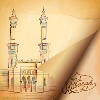 Eid mubarak islamic greeting design with haram mosque sketch