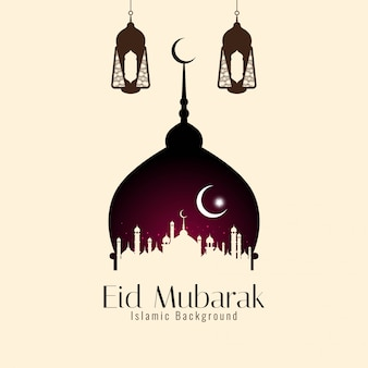 Eid mubarak islamic religious elegant background