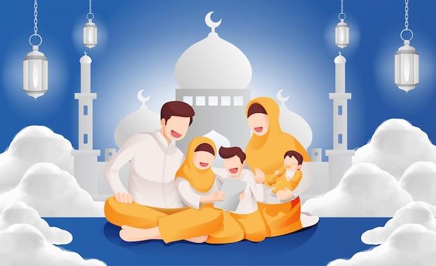 Eid mubarak muslim celebration family together in the house illustration