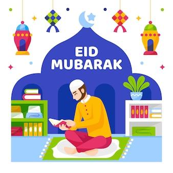 Eid mubarak muslim character reading