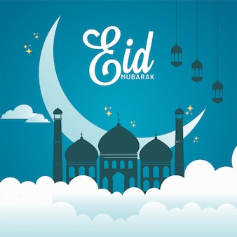 Eid mubarak poster design with mosque, crescent moon and hanging lanterns decorated on paper cut clouds and sky