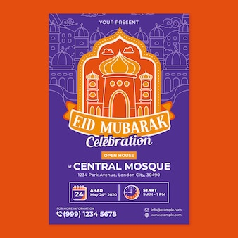 Eid mubarak poster print template in flat design style